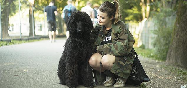 sort stor puddel og jente