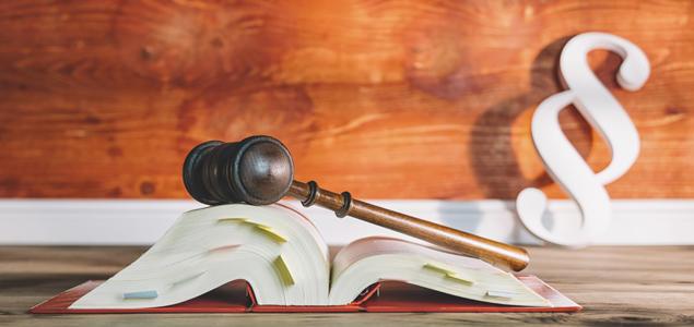 Lovbok, dommerklubbe og paragrafsymbol