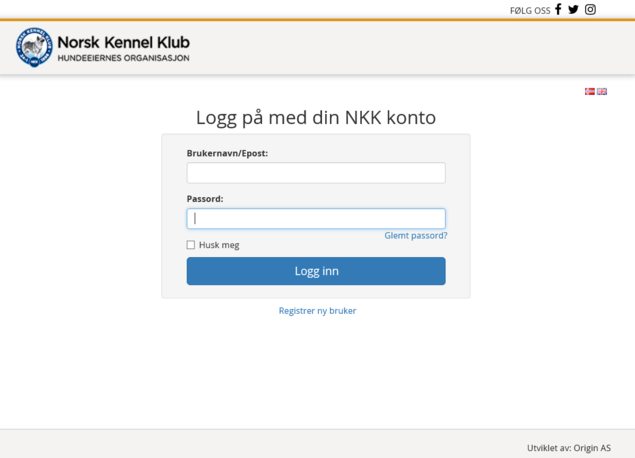 Logg inn med din NKK konto