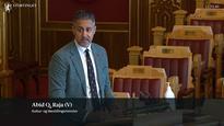 Kulturminister Abid Q Raja snakker om NKK fra Stortingets talerstol 7. mai